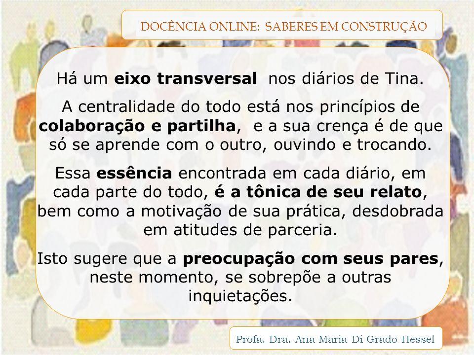 DOCÊNCIA ONLINE: SABERES EM CONSTRUÇÃO Profa. Dra. Ana Maria Di Grado Hessel Há um eixo transversal nos diários de Tina. A centralidade do todo está n