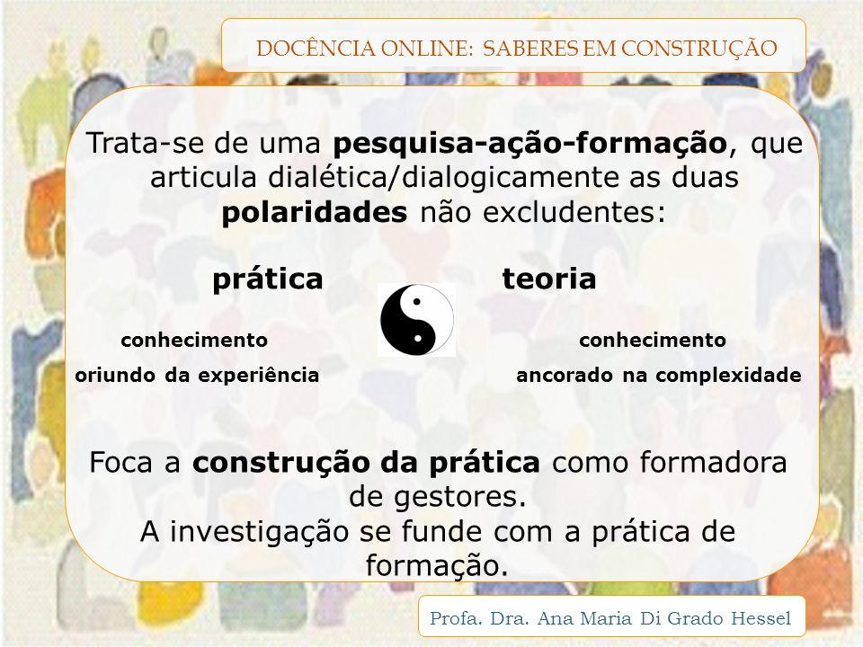 DOCÊNCIA ONLINE: SABERES EM CONSTRUÇÃO Profa. Dra. Ana Maria Di Grado Hessel Trata-se de uma pesquisa-ação-formação, que articula dialética/dialogicam