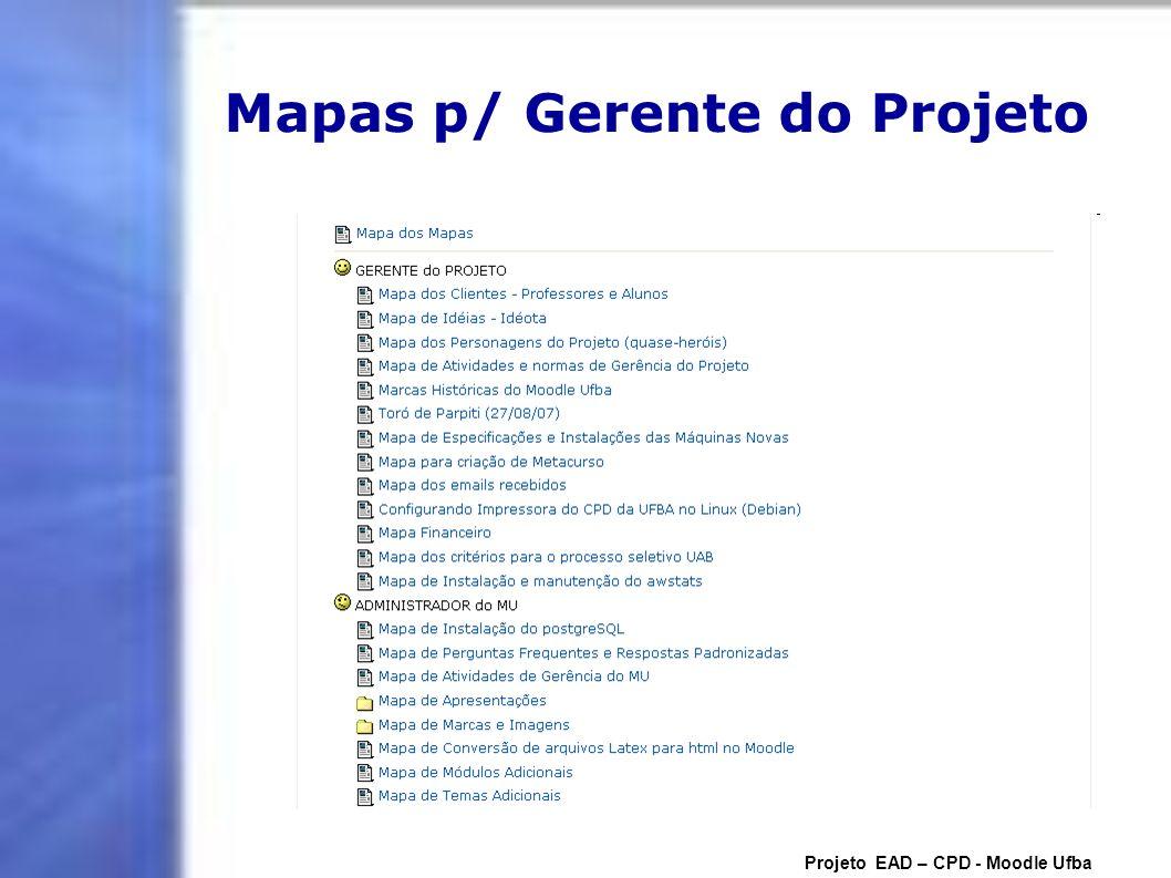 Mapas p/ Gerente do Projeto Projeto EAD – CPD - Moodle Ufba