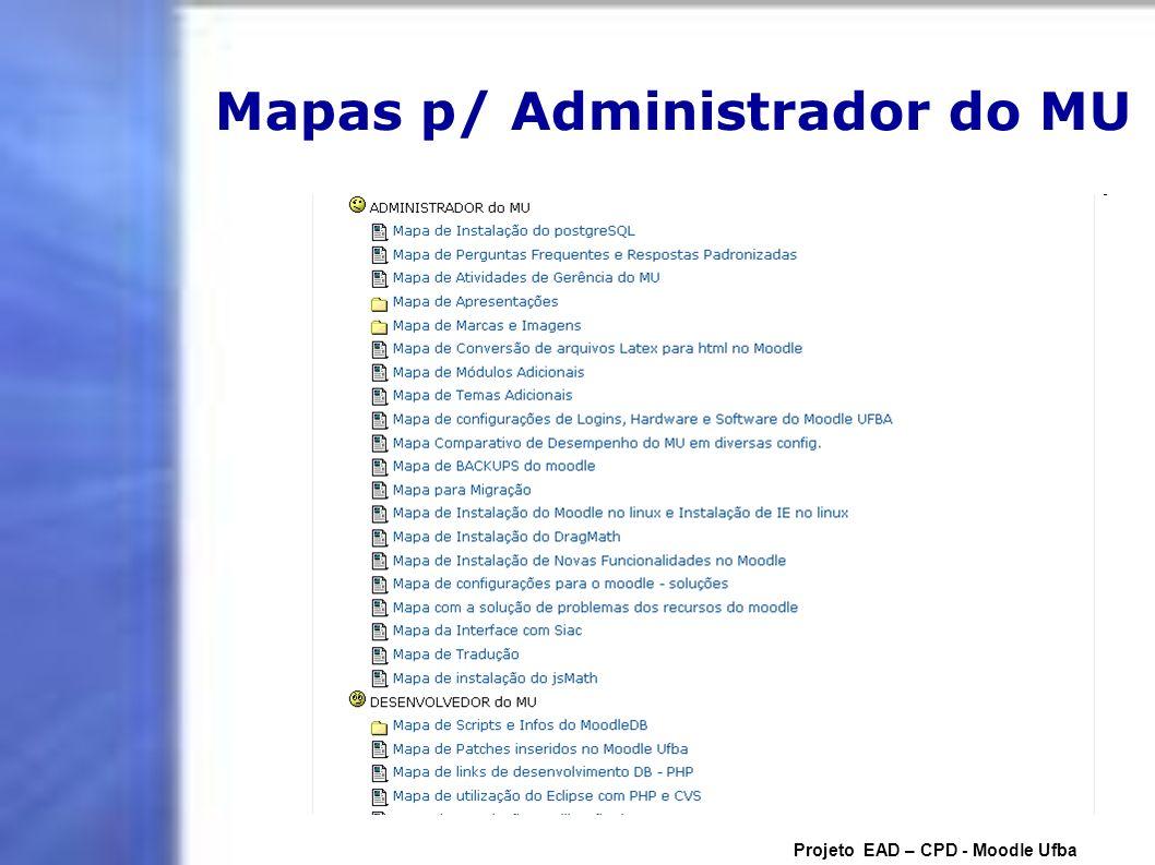 Mapas p/ Administrador do MU Projeto EAD – CPD - Moodle Ufba