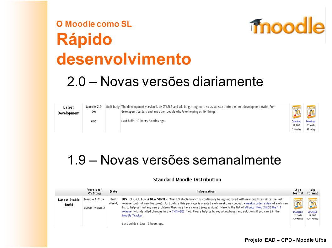 O Moodle como SL Rápido desenvolvimento 2.0 – Novas versões diariamente 1.9 – Novas versões semanalmente Projeto EAD – CPD - Moodle Ufba
