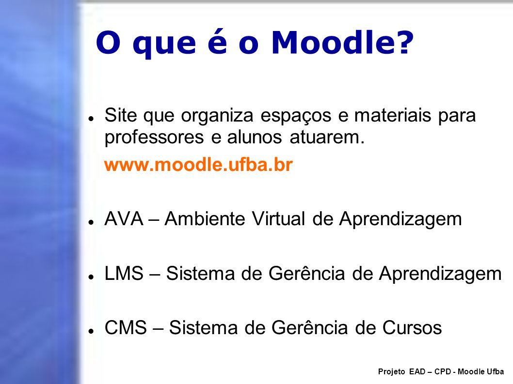 O que é o Moodle? Site que organiza espaços e materiais para professores e alunos atuarem. www.moodle.ufba.br AVA – Ambiente Virtual de Aprendizagem L