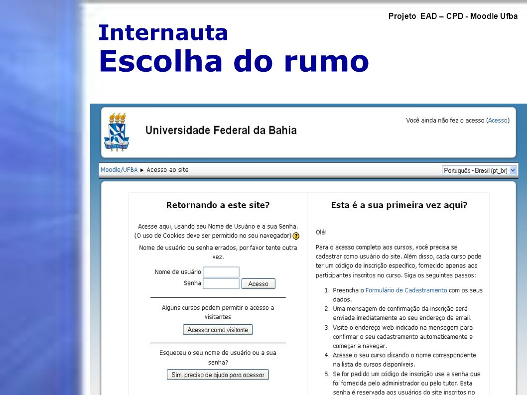 Internauta Escolha do rumo Projeto EAD – CPD - Moodle Ufba