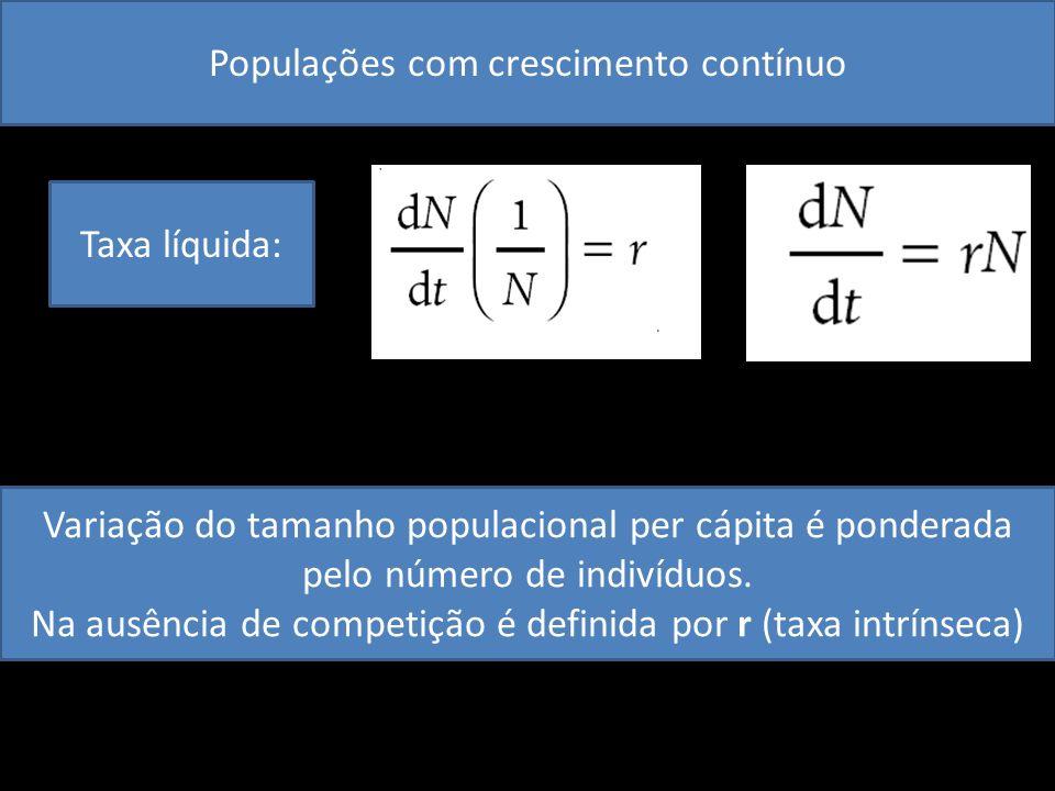 Populações com crescimento contínuo Taxa líquida: Variação do tamanho populacional per cápita é ponderada pelo número de indivíduos. Na ausência de co