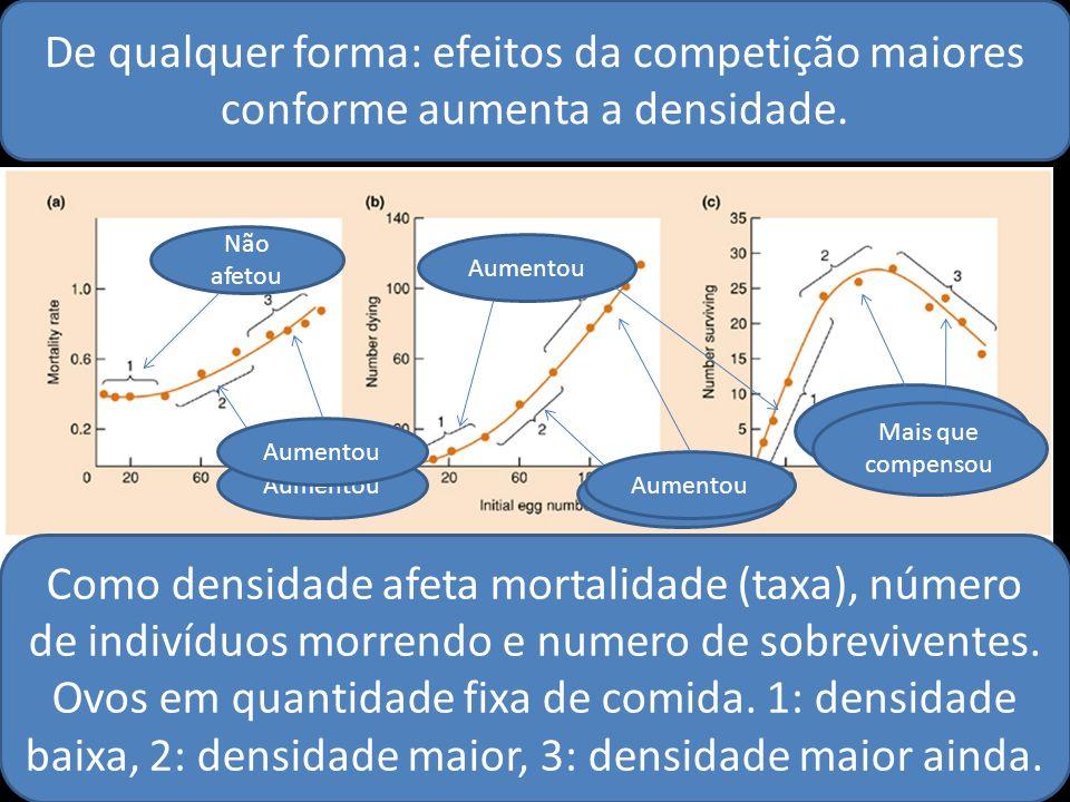 De qualquer forma: efeitos da competição maiores conforme aumenta a densidade. Como densidade afeta mortalidade (taxa), número de indivíduos morrendo
