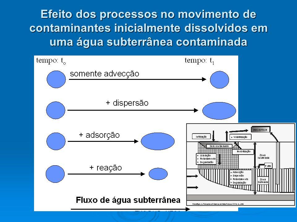 Efeito dos processos no movimento de contaminantes inicialmente dissolvidos em uma água subterrânea contaminada