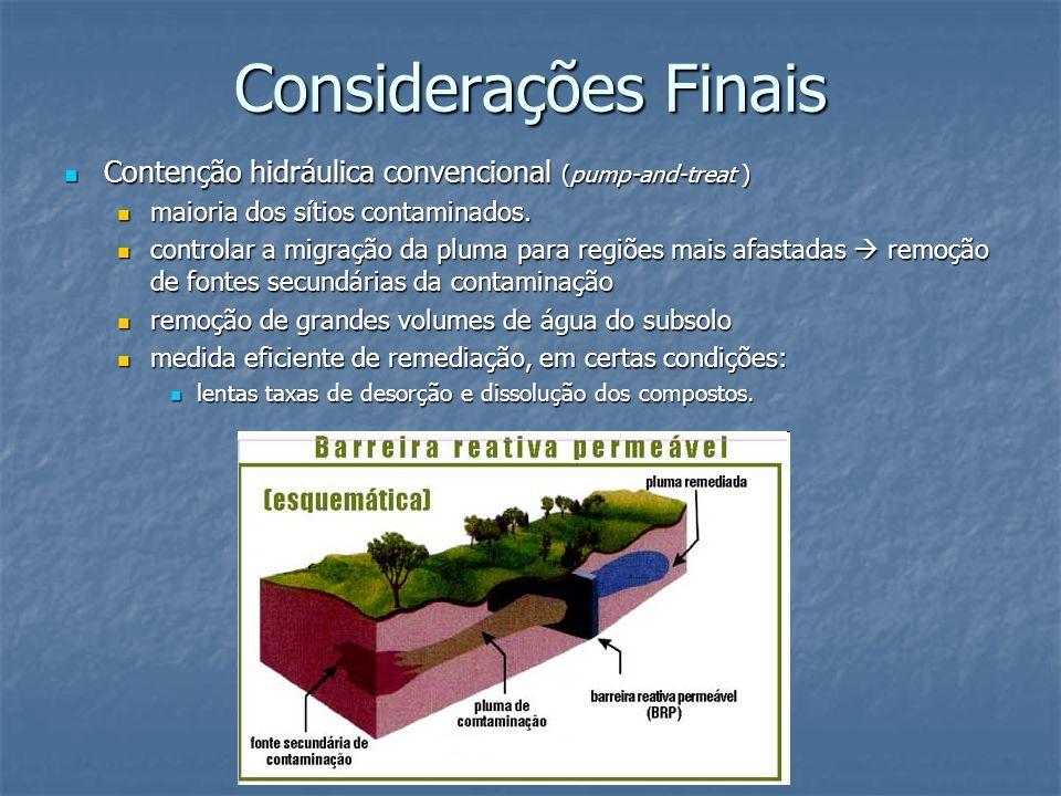 Considerações Finais Contenção hidráulica convencional (pump-and-treat ) Contenção hidráulica convencional (pump-and-treat ) maioria dos sítios contam