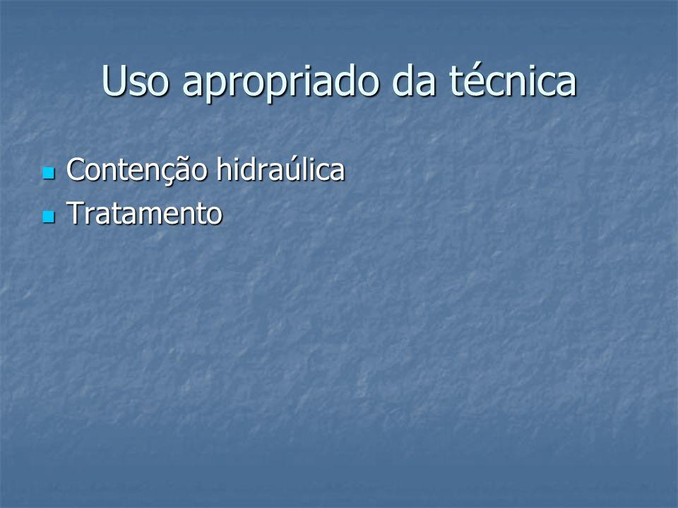 Uso apropriado da técnica Contenção hidraúlica Contenção hidraúlica Tratamento Tratamento