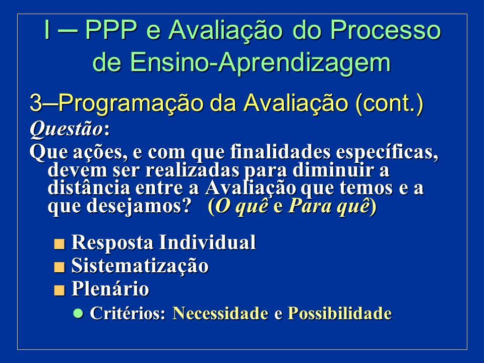 II PPP e Avaliação Institucional Marco Referencial Marco Referencial Diagnóstico Avaliação da Instituição Diagnóstico Avaliação da Instituição como um todo como um todo Programação Programação