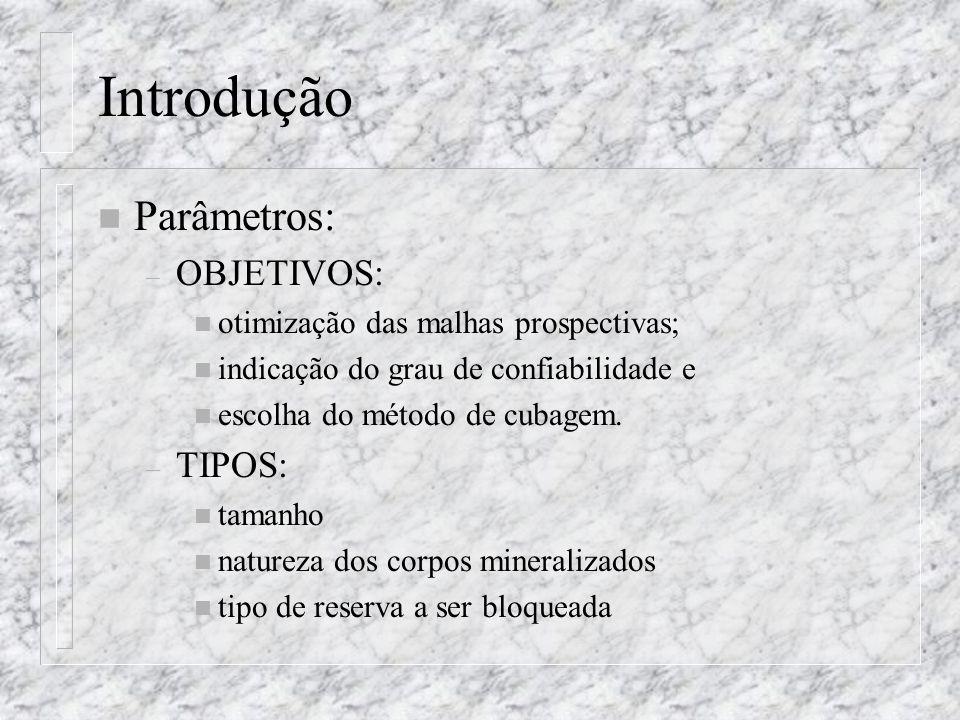 Introdução n Parâmetros: – OBJETIVOS: n otimização das malhas prospectivas; n indicação do grau de confiabilidade e n escolha do método de cubagem. –