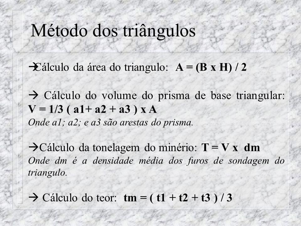 Cálculo da área do triangulo: A = (B x H) / 2 Cálculo do volume do prisma de base triangular: V = 1/3 ( a1+ a2 + a3 ) x A Onde a1; a2; e a3 são aresta