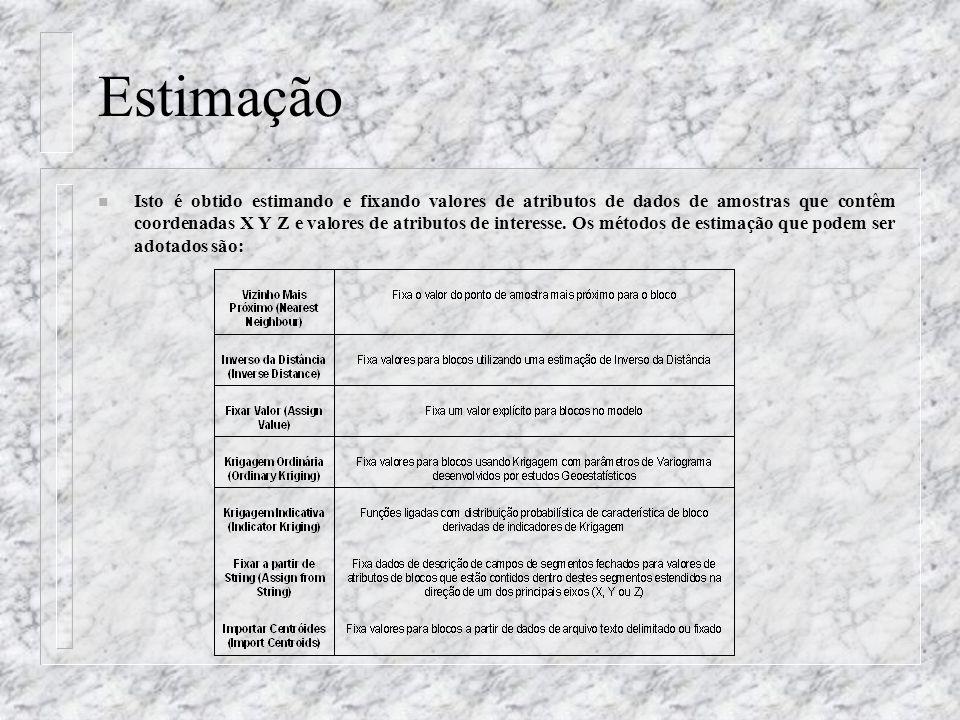Estimação n Isto é obtido estimando e fixando valores de atributos de dados de amostras que contêm coordenadas X Y Z e valores de atributos de interes