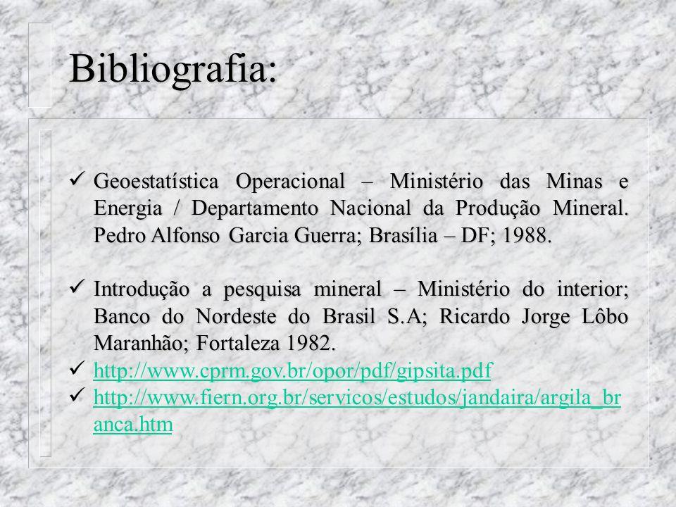 Geoestatística Operacional – Ministério das Minas e Energia / Departamento Nacional da Produção Mineral. Pedro Alfonso Garcia Guerra; Brasília – DF; 1