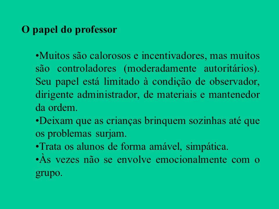 O papel do professor Muitos são calorosos e incentivadores, mas muitos são controladores (moderadamente autoritários). Seu papel está limitado à condi