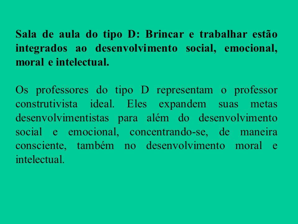 Sala de aula do tipo D: Brincar e trabalhar estão integrados ao desenvolvimento social, emocional, moral e intelectual. Os professores do tipo D repre