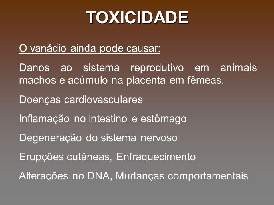 TOXICIDADE O vanádio ainda pode causar: Danos ao sistema reprodutivo em animais machos e acúmulo na placenta em fêmeas. Doenças cardiovasculares Infla
