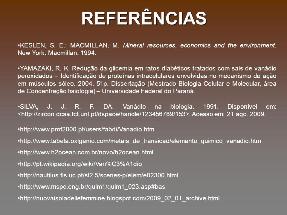 REFERÊNCIAS KESLEN, S. E.; MACMILLAN, M. Mineral resources, economics and the environment. New York: Macmillan. 1994. YAMAZAKI, R. K. Redução da glice