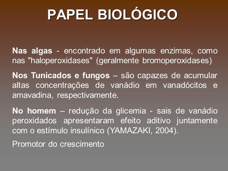 PAPEL BIOLÓGICO Nas algas - encontrado em algumas enzimas, como nas