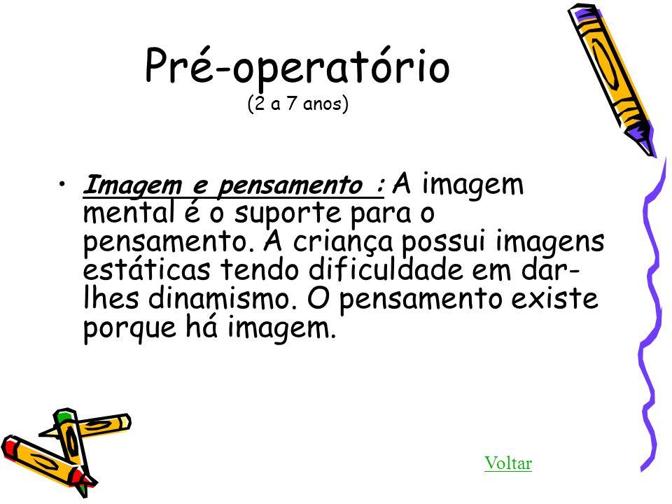 Pré-operatório (2 a 7 anos) Imagem e pensamento : A imagem mental é o suporte para o pensamento. A criança possui imagens estáticas tendo dificuldade