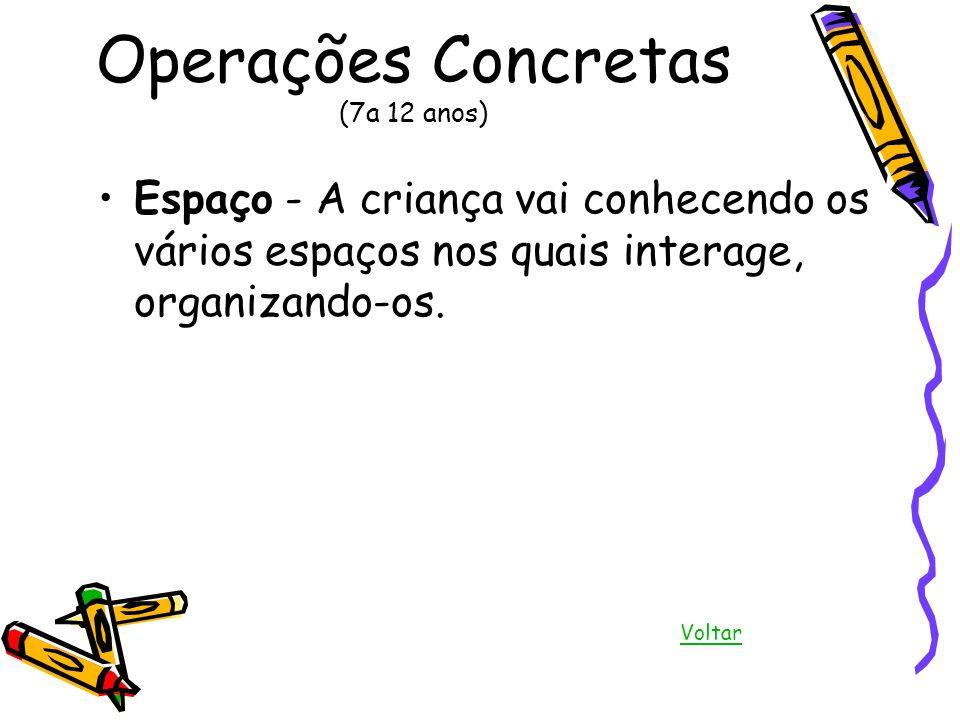 Operações Concretas (7a 12 anos) Espaço - A criança vai conhecendo os vários espaços nos quais interage, organizando-os. Voltar