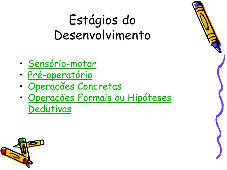 Estágios do Desenvolvimento Sensório-motor Pré-operatório Operações Concretas Operações Formais ou Hipóteses DedutivasOperações Formais ou Hipóteses D
