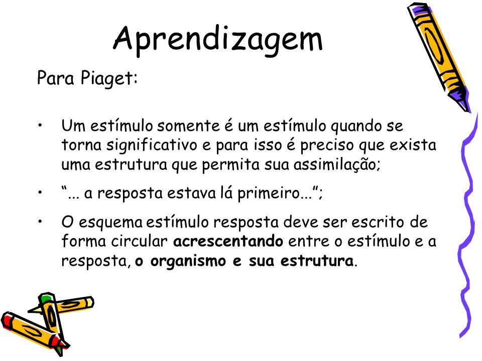 Aprendizagem Para Piaget: Um estímulo somente é um estímulo quando se torna significativo e para isso é preciso que exista uma estrutura que permita s