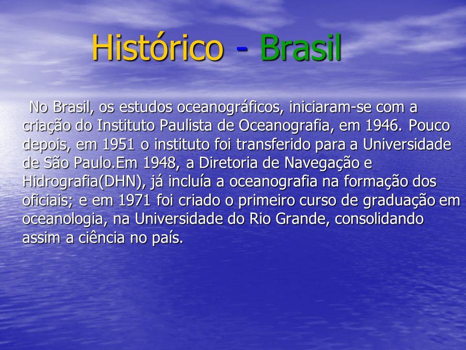 Histórico - Brasil Histórico - Brasil No Brasil, os estudos oceanográficos, iniciaram-se com a criação do Instituto Paulista de Oceanografia, em 1946.