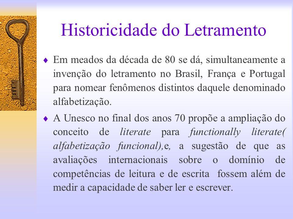 Historicidade do Letramento Em meados da década de 80 se dá, simultaneamente a invenção do letramento no Brasil, França e Portugal para nomear fenômen