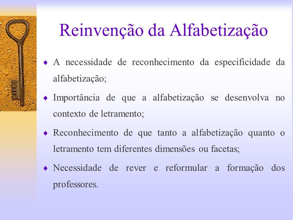 Reinvenção da Alfabetização A necessidade de reconhecimento da especificidade da alfabetização; Importância de que a alfabetização se desenvolva no co