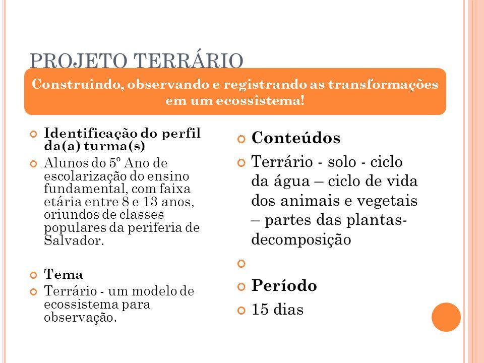 O BJETIVOS (Geral) Compreender de forma geral o processo o funcionamento de ecossisistemas através da construção, observação e registro das transformações ocorridas no terrário.