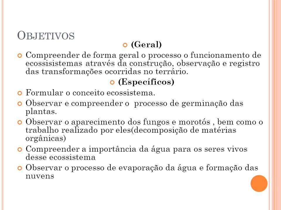 O BJETIVOS (Geral) Compreender de forma geral o processo o funcionamento de ecossisistemas através da construção, observação e registro das transforma