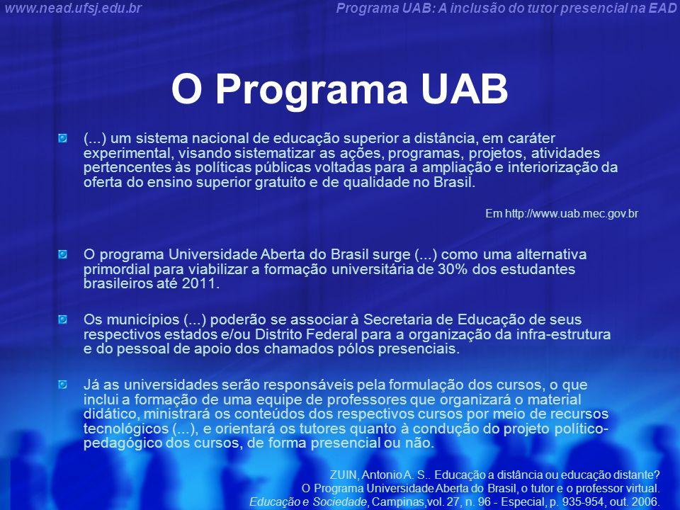 Programa UAB: A inclusão do tutor presencial na EADwww.nead.ufsj.edu.br O Programa UAB (...) um sistema nacional de educação superior a distância, em