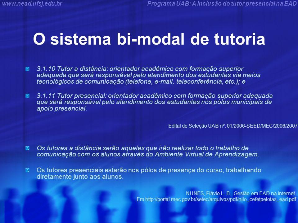 Programa UAB: A inclusão do tutor presencial na EADwww.nead.ufsj.edu.br O sistema bi-modal de tutoria 3.1.10 Tutor a distância: orientador acadêmico c