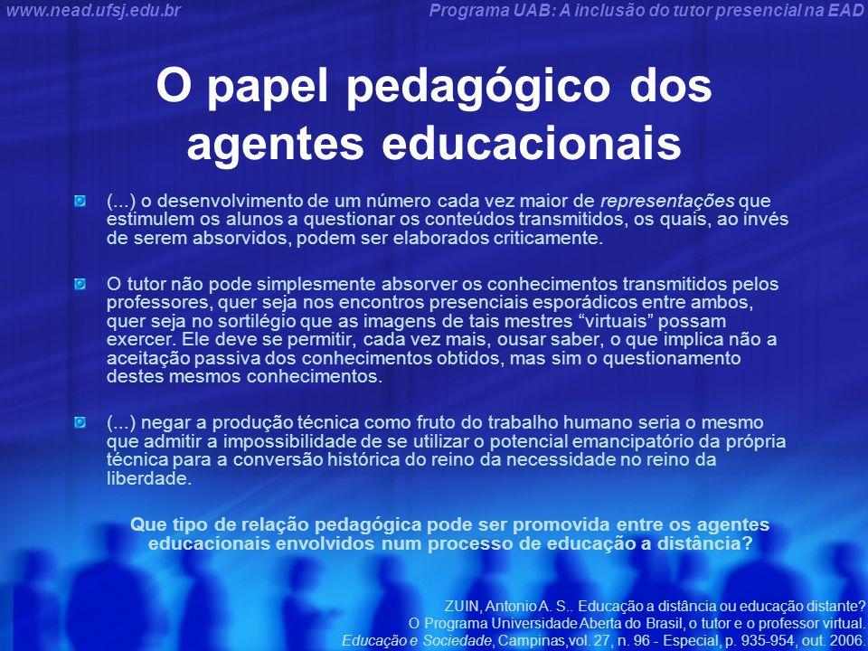 Programa UAB: A inclusão do tutor presencial na EADwww.nead.ufsj.edu.br O papel pedagógico dos agentes educacionais (...) o desenvolvimento de um núme