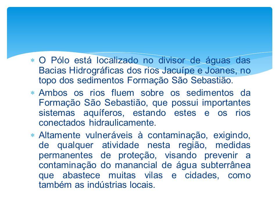 O Pólo está localizado no divisor de águas das Bacias Hidrográficas dos rios Jacuípe e Joanes, no topo dos sedimentos Formação São Sebastião. Ambos os