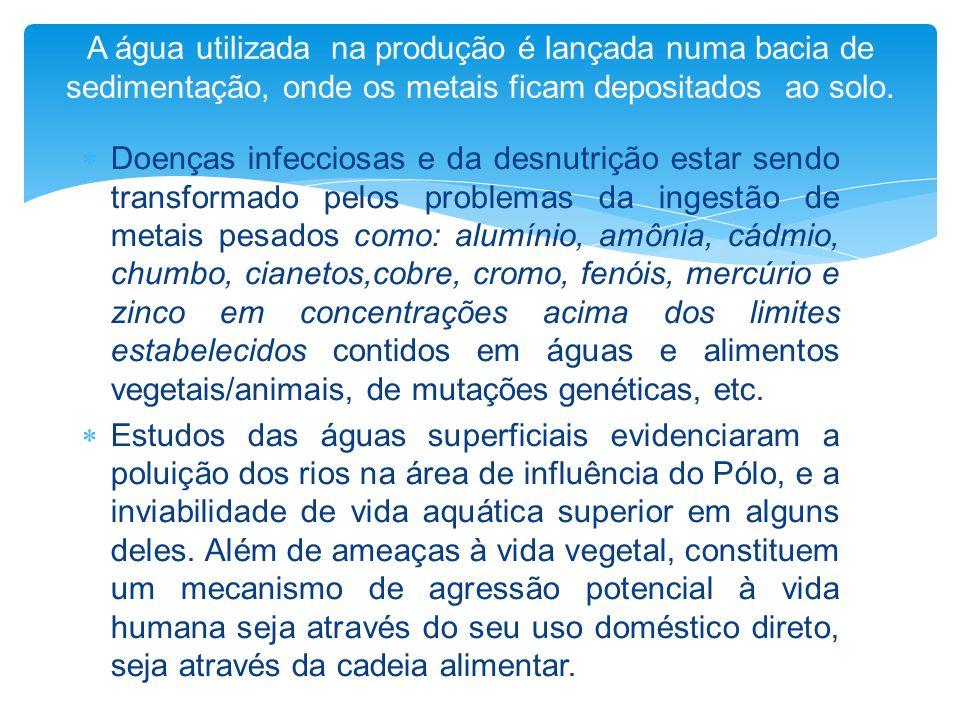 Doenças infecciosas e da desnutrição estar sendo transformado pelos problemas da ingestão de metais pesados como: alumínio, amônia, cádmio, chumbo, ci