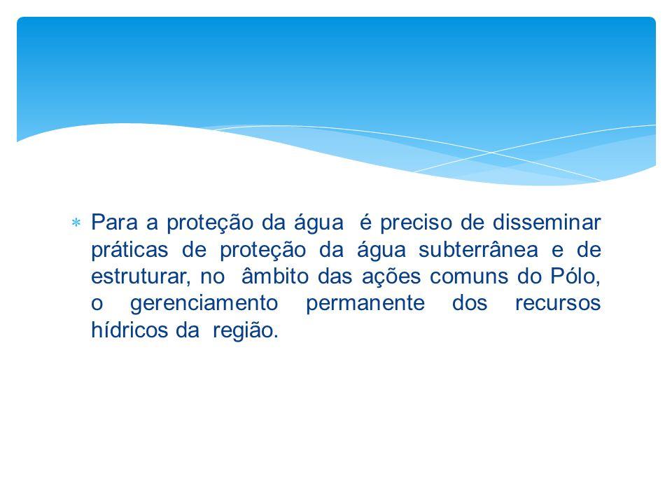 Para a proteção da água é preciso de disseminar práticas de proteção da água subterrânea e de estruturar, no âmbito das ações comuns do Pólo, o gerenc