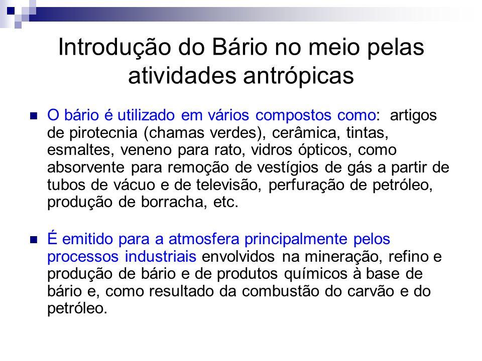 Introdução do Bário no meio pelas atividades antrópicas O bário é utilizado em vários compostos como: artigos de pirotecnia (chamas verdes), cerâmica,