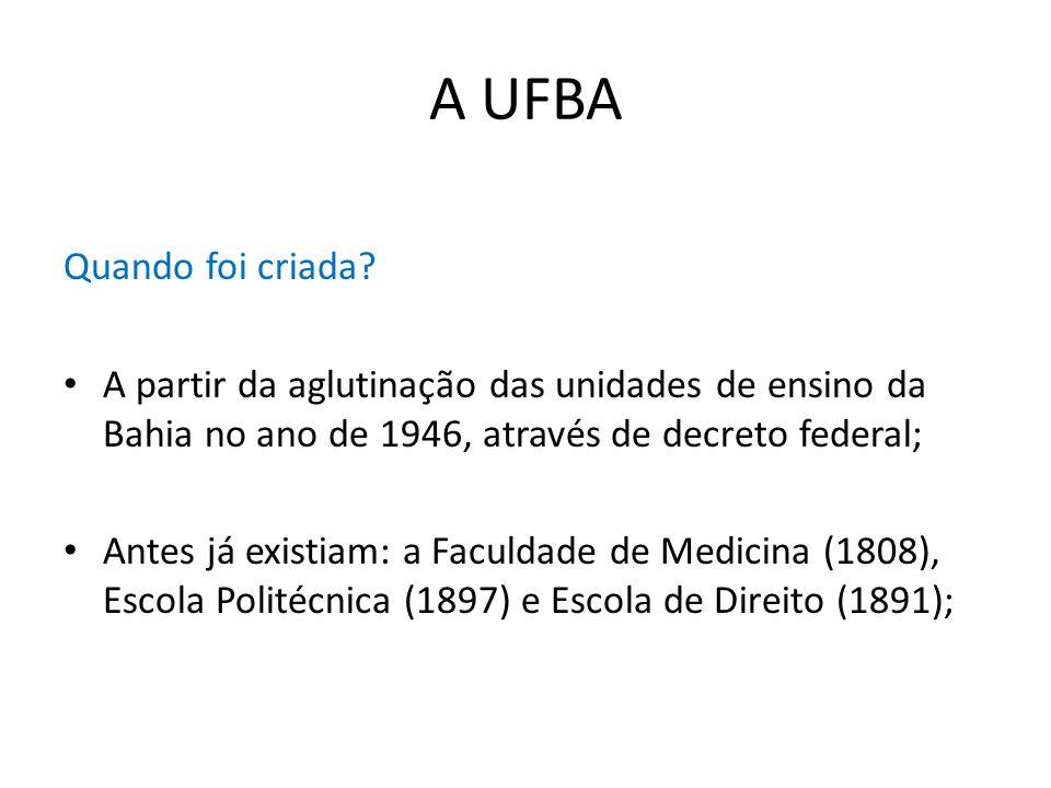 A UFBA Quando foi criada? A partir da aglutinação das unidades de ensino da Bahia no ano de 1946, através de decreto federal; Antes já existiam: a Fac