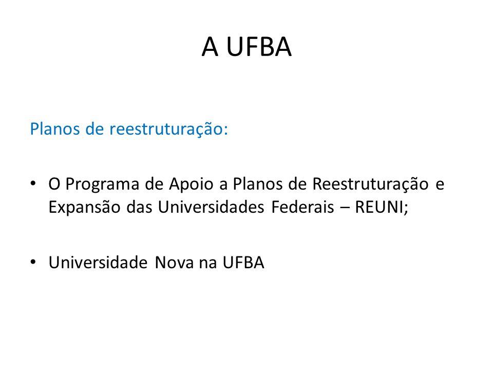 A UFBA Planos de reestruturação: O Programa de Apoio a Planos de Reestruturação e Expansão das Universidades Federais – REUNI; Universidade Nova na UF