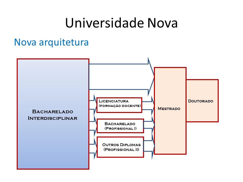 Universidade Nova Nova arquitetura Licenciatura (formação docente) Bacharelado Interdisciplinar Bacharelado (Profissional I) Outros Diplomas (Profissi
