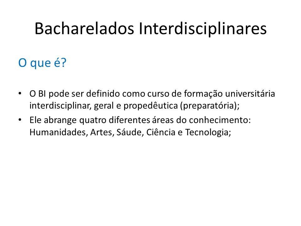 Bacharelados Interdisciplinares O que é? O BI pode ser definido como curso de formação universitária interdisciplinar, geral e propedêutica (preparató