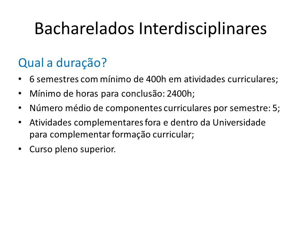 Bacharelados Interdisciplinares Qual a duração? 6 semestres com mínimo de 400h em atividades curriculares; Mínimo de horas para conclusão: 2400h; Núme