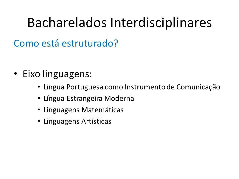 Bacharelados Interdisciplinares Como está estruturado? Eixo linguagens: Língua Portuguesa como Instrumento de Comunicação Língua Estrangeira Moderna L