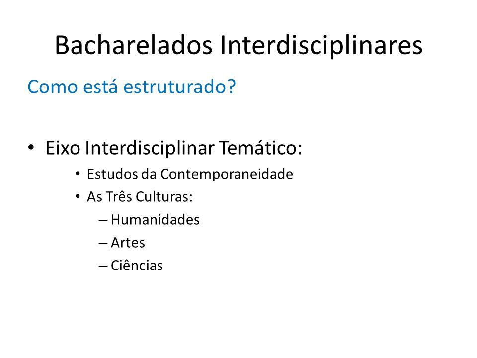 Bacharelados Interdisciplinares Como está estruturado? Eixo Interdisciplinar Temático: Estudos da Contemporaneidade As Três Culturas: – Humanidades –