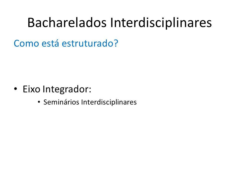 Bacharelados Interdisciplinares Como está estruturado? Eixo Integrador: Seminários Interdisciplinares