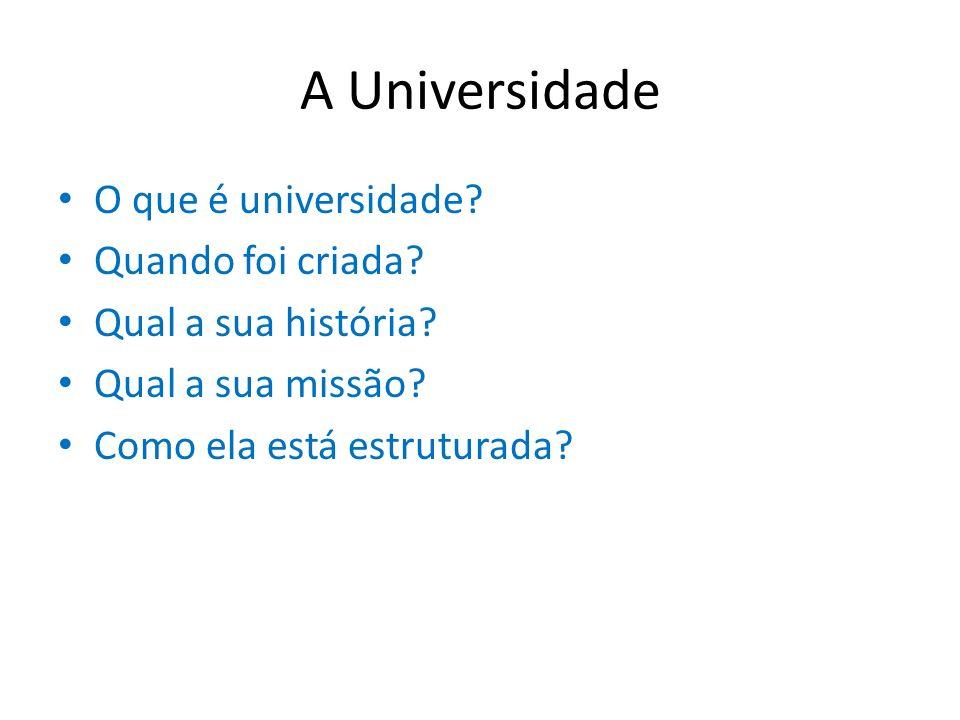 A Universidade O que é universidade? Quando foi criada? Qual a sua história? Qual a sua missão? Como ela está estruturada?