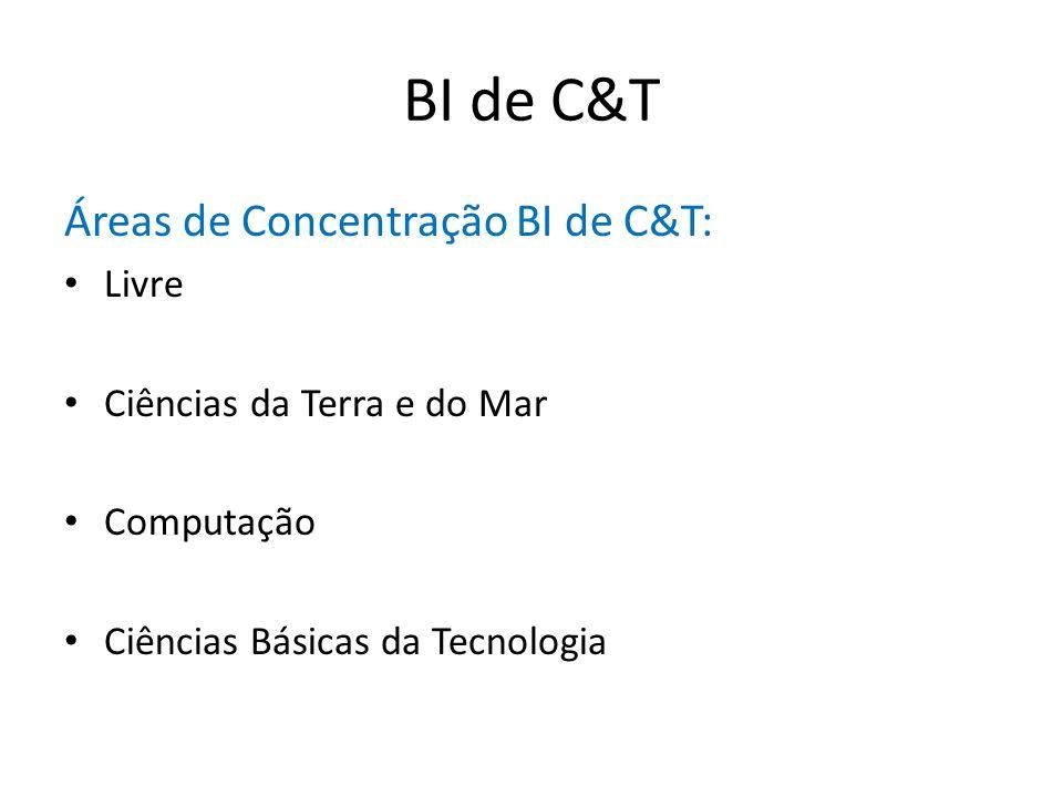BI de C&T Áreas de Concentração BI de C&T: Livre Ciências da Terra e do Mar Computação Ciências Básicas da Tecnologia