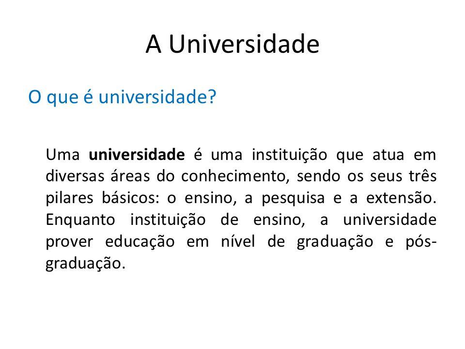 A Universidade O que é universidade? Uma universidade é uma instituição que atua em diversas áreas do conhecimento, sendo os seus três pilares básicos