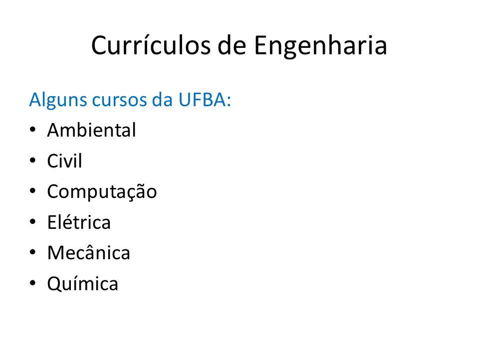 Currículos de Engenharia Alguns cursos da UFBA: Ambiental Civil Computação Elétrica Mecânica Química